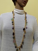 Natural rainbow fluorite necklace and earrings set  - $45.00