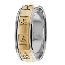 18K Solid Gold Celtic Wedding Band Mens Womens Celtic Irish Wedding Band... - $777.69