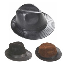 New Men's 100% Real Leather Top Cap/ Fedora Hat / Leather Trilby *3 Color - $21.71