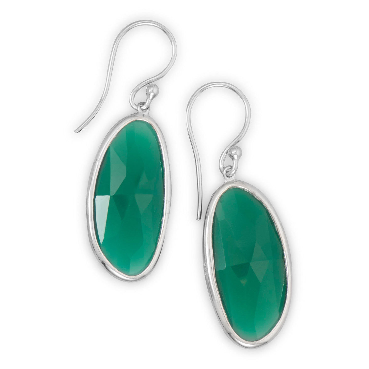 Rhodium Plated Silver Green Onyx Earrings