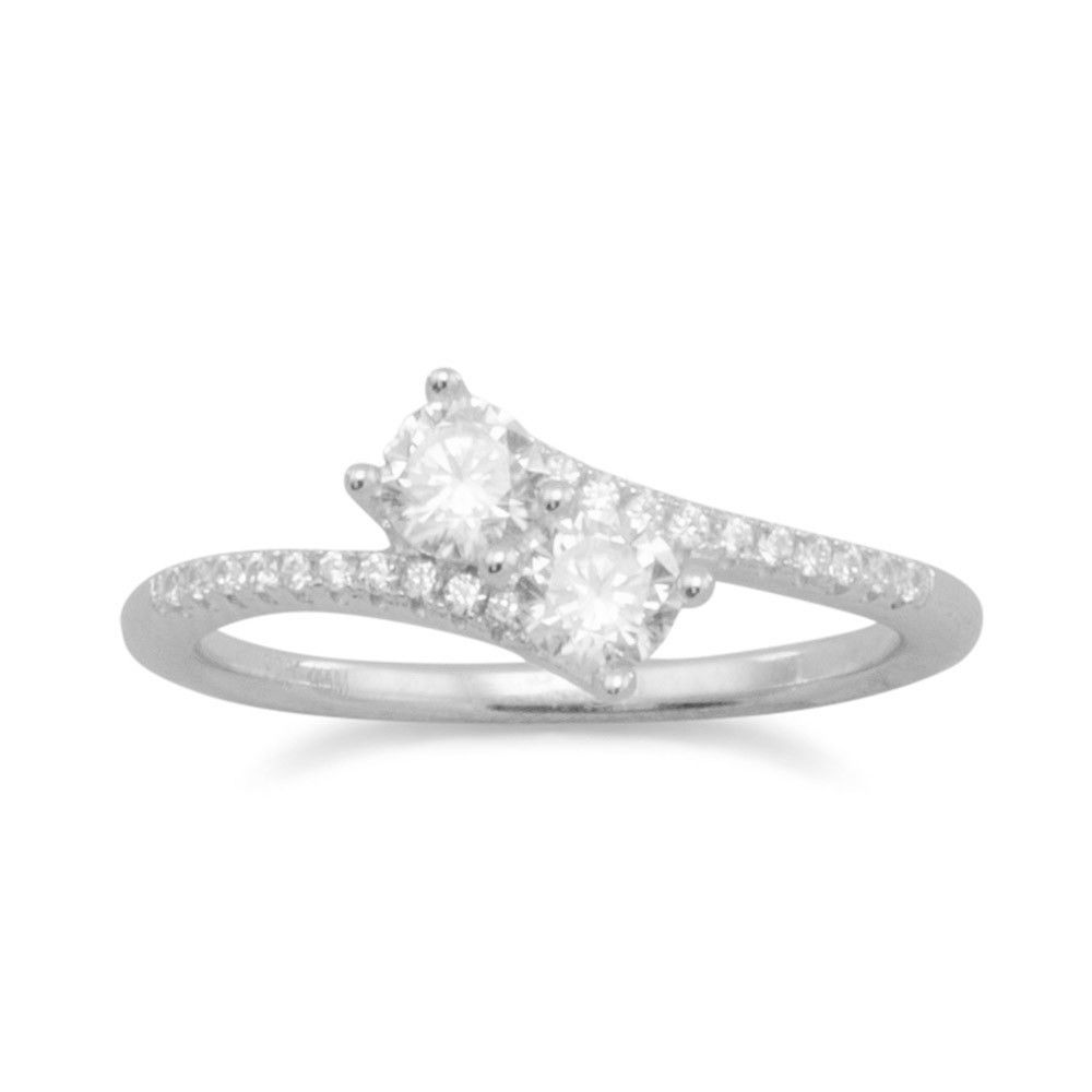 Rhodium Plated Double Signity CZ Ring with CZ Band for your Sweet Heart