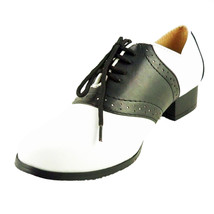 ELLIE Shoes Two Tone White Saddle Retro Vintage Lace Up 105-SADDLE Black - $35.95