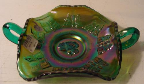 Fenton Carnival Glass Green Butterfly BonBon Double Handled Candy Dish