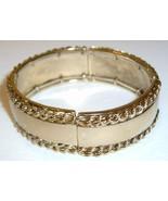 Vintage MONET Gold Metal Elastic Bangle Bracelet - $14.00
