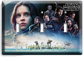 STAR WARS ROGUE ONE STORY JEDI REBELS TRIPLE LIGHT SWITCH WALL PLATE ROO... - $16.19