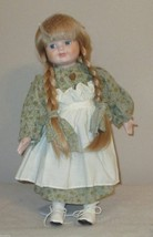 BLOND BRAIDED PIGTAIL BLUE EYED PORCELAIN DOLL ... - $5.85