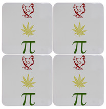 Set of Four Chicken Pot Pi Funny Stoner Cork Bottom Coasters - $14.95