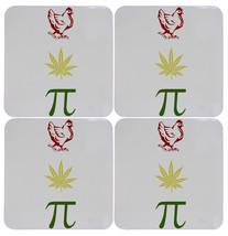Set of Four Chicken Pot Pi Funny Stoner Cork Bottom Coasters - $299,94 MXN