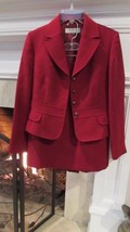 Tahari Arthur S Levine Red Button Front Skirt Suit Sz 6P Compare at $140.00 - $58.41