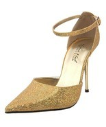 Highest Heel Stiletto D'Orsay Pointy Toe Pump Ankle Strap SLICK-101 Gold... - $66.95