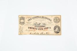 1863 Estado de Alabama Twenty-Five Centavos Confederado Fraccionario Moneda - $74.06