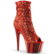 PLEASER Open Toe Sequins Ankle Boot Chrome Platform High Heels ADORE-100... - $97.95