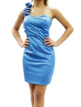 Sexy Satin Solid Ruched Floral One Shoulder Mini Dress Size XS S M L CD1... - €19,55 EUR