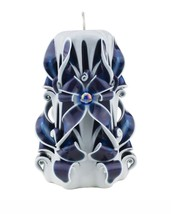 Carved candle Blue purple white Free shipping - $32.99