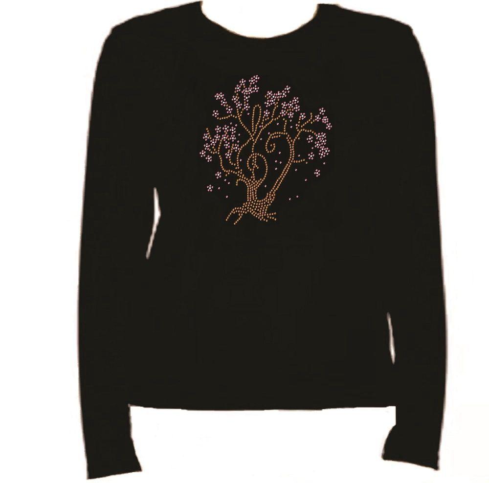 Rhinestone Cherry Tree Long Sleeve T Shirt Rhinestone  L-R WY8Y for sale  USA