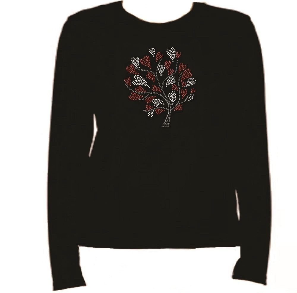 Rhinestone Cherry Hearts Long Sleeve T Shirt Rhinestone  L-R H1U7 for sale  USA