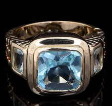 Blue Topaz Yellow Gold Filled Fashion Ring Free Shipping - $33.00
