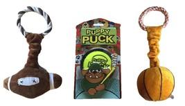 Dog Toy Sports 3-pack Set – Plush Football & Basketball plus Puppy Hocke... - $19.99