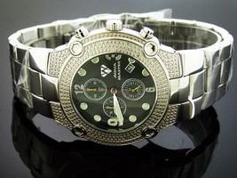 NEW AQUA MASTER 45MM ROUND 20 DIAMONDS BLACK FACE WATCH - $197.99