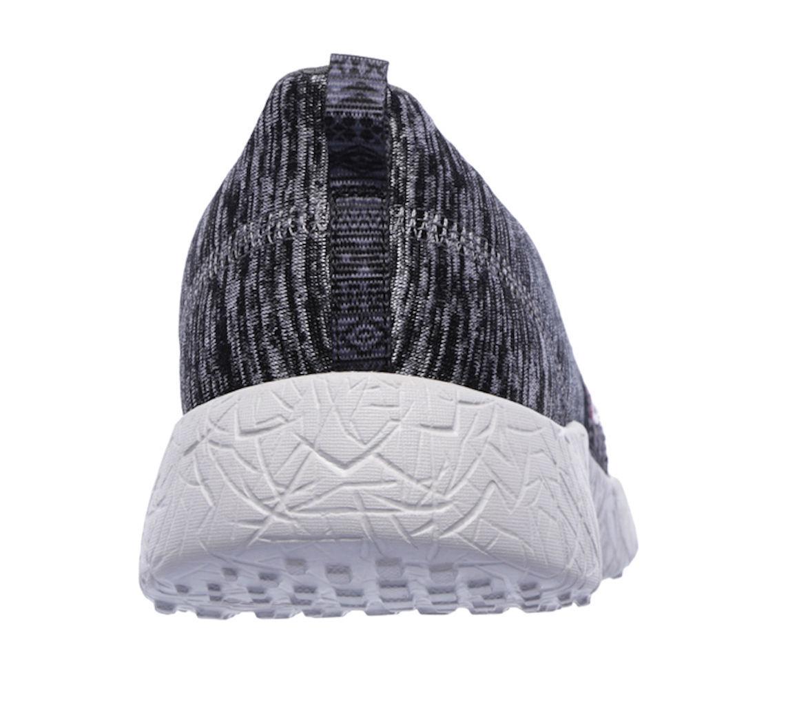 Skechers Burst Blown Away Black/Grey Womens Slip On Sport Shoes 12746