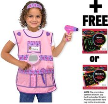 Hair Stylist: Role Play Costume + Melissa & Doug Scratch Art Mini-Pad Bundle ... - $29.45