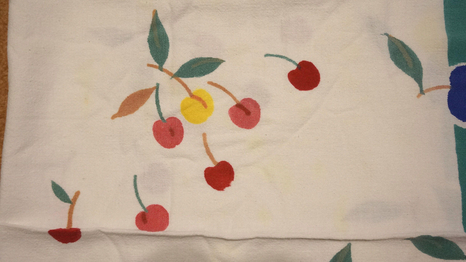 Colorful Vintage 50s Cotton Cherries Fruit Tablecloth Pears Apples Grapes Peach image 4