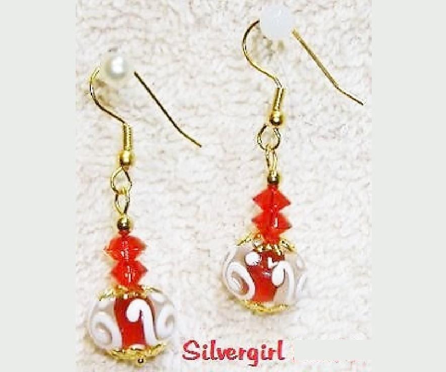 Red White Swirl Clear Lampwork Dangle Earrings