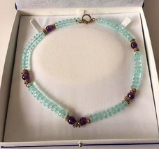 Custom Made OOAK Silver Toggle Amethyst & Tanzanite Beaded Necklace - $125.00