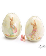 Bunny Rabbit Dimple Eggs Salt and Pepper Shakers Bunnies Easter Decor - $14.20