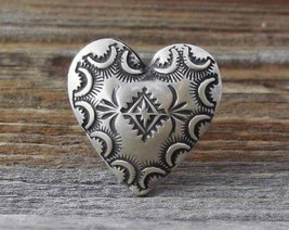 Navajo Silver Puffed Heart Adjustable Ring Size 7.5-8.5 - $158.40