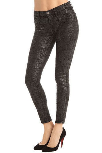 New J Brand Jeans Skinny Womens Leggings Black Matte Boa Snake 25 Coated USA