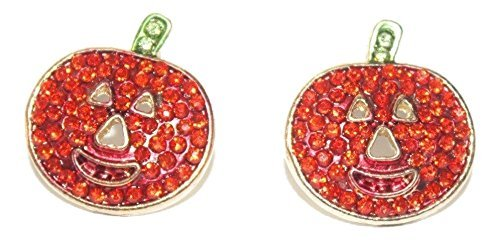 Shoppingbuyfaith Rhinestone Pumpkin Post Earrings Halloween