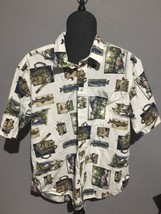 WOOLRICH SHORT SLEEVE SHIRT 100% COTTON L FLY FISHING SCENES MEN'S SIZE L - $23.38