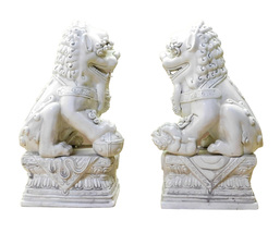 Pair Chinese Oriental Off White Porcelain Foo Dogs Statue cs2121 - $795.00
