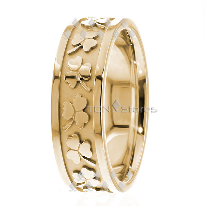Irish Clover Celtic Wedding Bands Rings Mens Womens 18K Gold Celtic Wedding Band