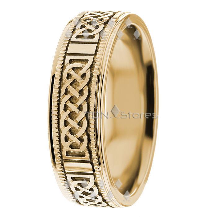 14K Gold Mens Celtic Knot Wedding Bands Mans Celtic Wedding Rings Gold Band Ring