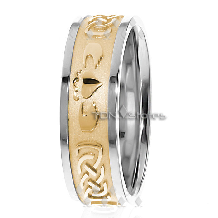 14K Gold Irish Claddagh Wedding Band Ring Mens Womens Celtic Claddagh Ring Bands