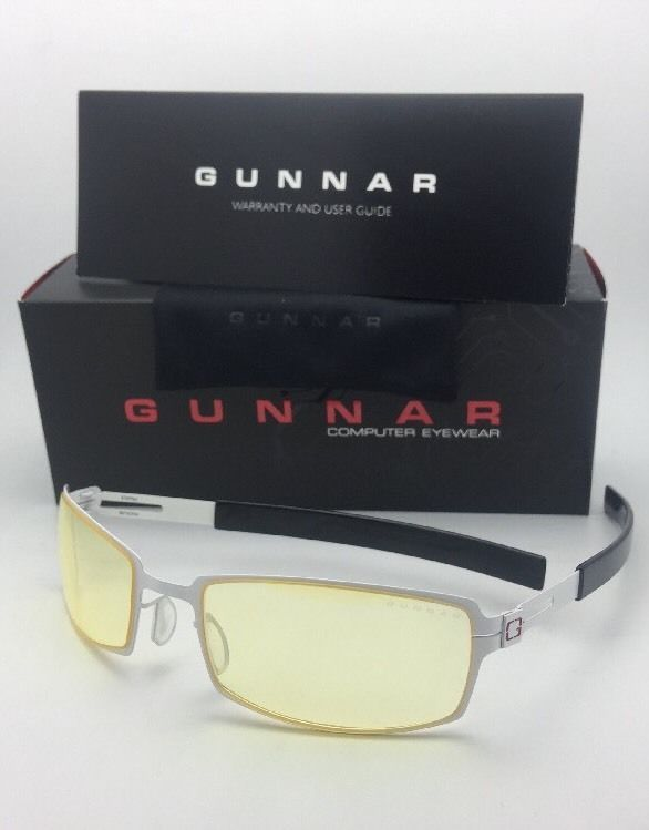 New GUNNAR Computer Glasses PPK 57-20 Snow White & Black Frame w/ Amber Yellow
