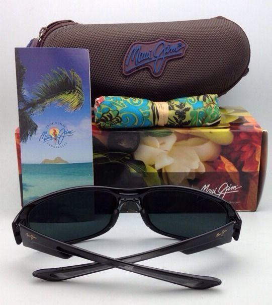 New Polarized Maui Jim Sunglasses MJ 415-02J BAMBOO FOREST Black Gloss w/ Grey