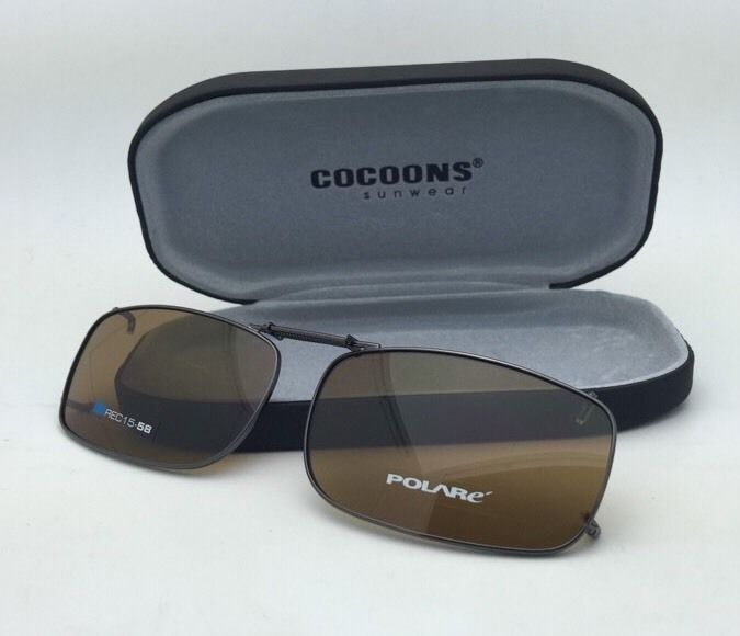 COCOONS Brown Polarized Sunglasses/Eyeglasses Over Rx Clip-on REC 15-58 Gunmetal