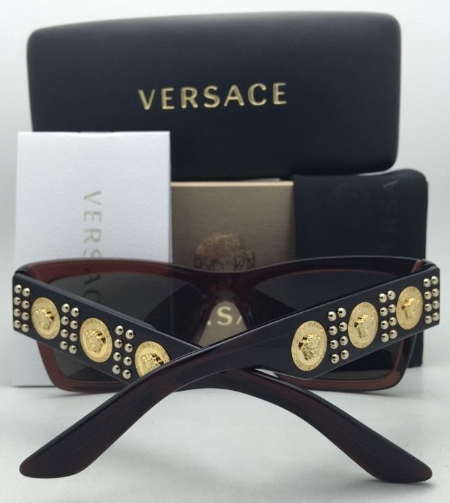 cbfe9a89718ce New VERSACE Sunglasses VE 4289 5130 73 Transparent Brown   Gold Frames w   Brown