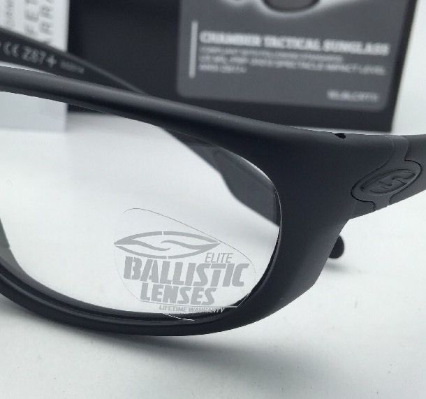 New SMITH OPTICS BALLISTIC CHAMBER TACTICAL Eyeglasses Black w/Clear ANSI Z87.1+