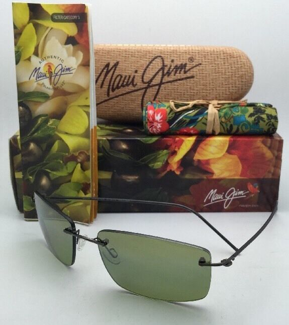 Rimless MAUI JIM Sunglasses SANDHILL MJ 715-02D Drk Gunmetal w/Polarized Maui HT