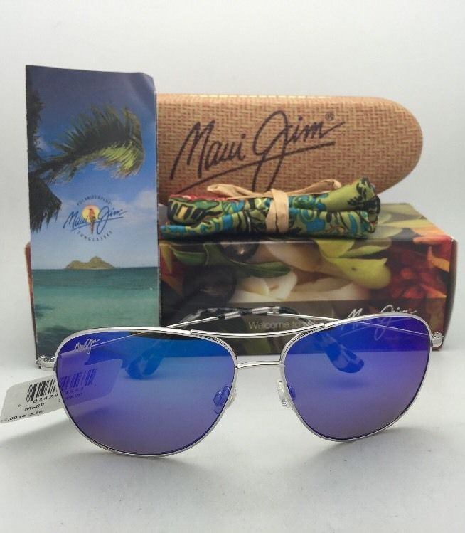 Polarized MAUI JIM Titanium Sunglasses CLIFF HOUSE 247-17 Silver w/ Blue Hawaii