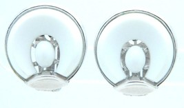 VTG 1958 CROWN TRIFARI Silver Tone SANTA ANITA White Thermoset Clip Earr... - $49.50