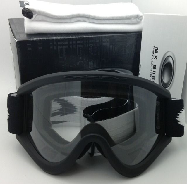 New Authentic OAKLEY Goggles MX E FRAME 57-695 Matte Black w/ Clear lens