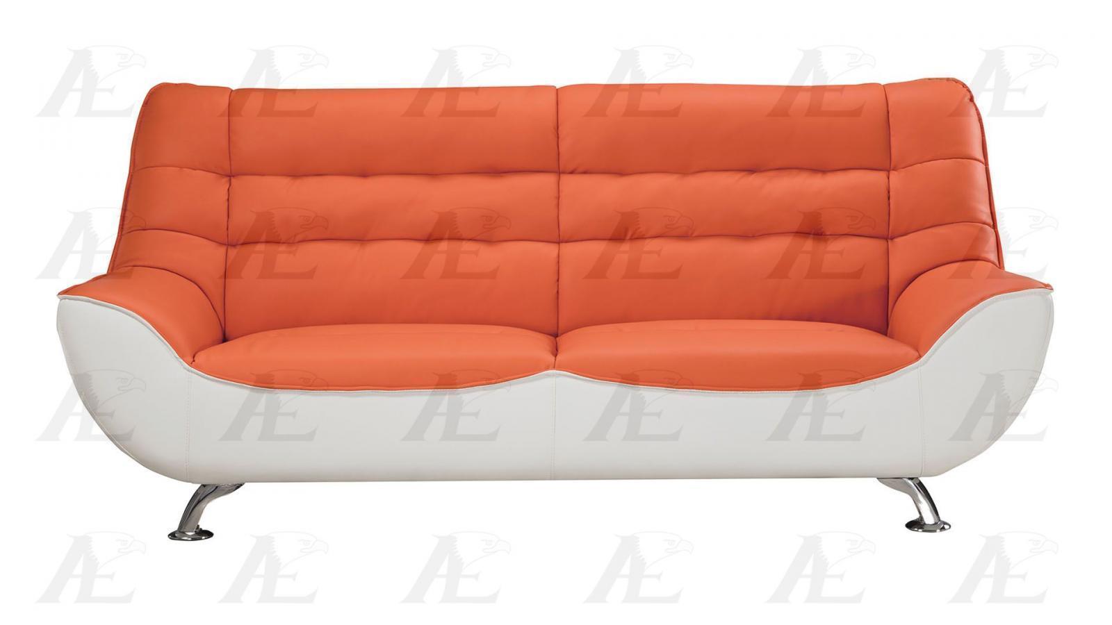 American Eagle Ae612 Org W Orange White Sofa And Loveseat Set Faux Leather 2pcs