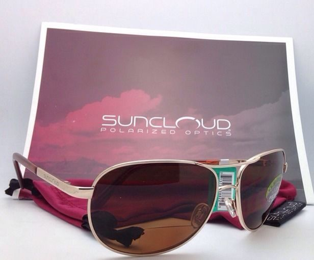 New SUNCLOUD POLARIZED OPTICS Sunglasses AVIATOR Gold w/Brown +1.5 READER Lenses