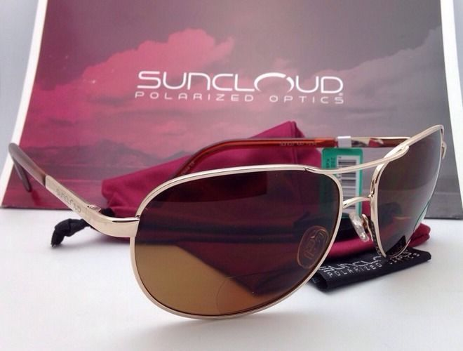 New SUNCLOUD POLARIZED OPTICS Sunglasses AVIATOR Gold w/Brown +2.5 READER Lenses