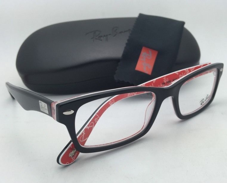 RAY-BAN Rx-able Eyeglasses HIGHSTREET RB 5206 2479 54-18 Black on Texture Red